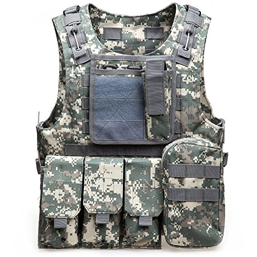 Tactical MOLLE Air Soft Weste Paintball Combat Weste Soft Vest Tactical Military MOLLE TACTICAL Outdoor Weste für Outdoor Spiele Jagd und Shooting, acu camouflage -