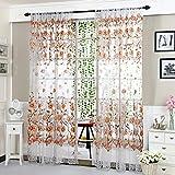 Peony Curtain Living Room Bedroom Home Door Window Curtain (Coffee)