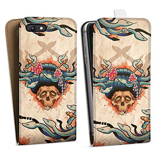 Apple iPhone X Silikon Hülle Case Schutzhülle Tattoo Totenkopf Schädel Downflip Tasche weiß