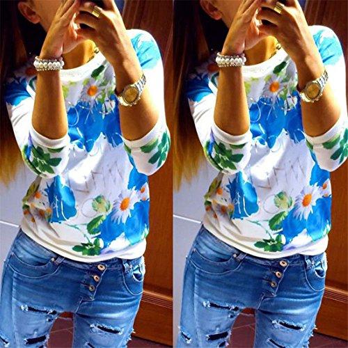 Femmes Dhiver/Automne Rose Imprime Hoddies T-shirt Manches Longues En Coton Melanges Bleu