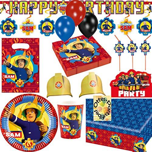 HHO Feuerwehrmann Fireman Sam Riesen-Partyset 86tlg. für 8 Gäste Teller Becher Servietten Tischdecke Einladung Tüten Luftballons Trinkhalme Kette Dekospiralen Hütchen
