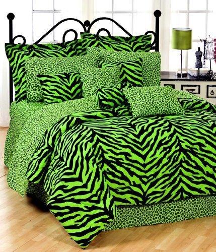 Lime Green Zebra TWIN 11 Pc Bedding Set (Comforter, 1 Flat Sheet, 1 Fitted Sheet, 1 Pillow Case, 1 Sham, 1 Bedskirt, 1 Valance/Drape Set) - SAVE BIG ON BUNDLING! by Kimlor