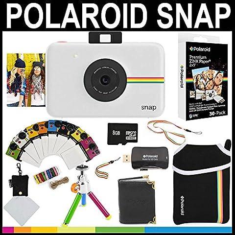 Polaroid - Fotocamera istantanea Snap (Bianco) + 30 fogli di carta zincata 2x3 + custodia in neoprene + cornici fotografiche + album fotografico + scheda di memoria da 8GB + pacchetto accessori - 3x3 Cornice