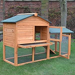 FeelGoodUK Rabbit Hutch & Run Guinea Pig House Cage (Bunny House Natural)