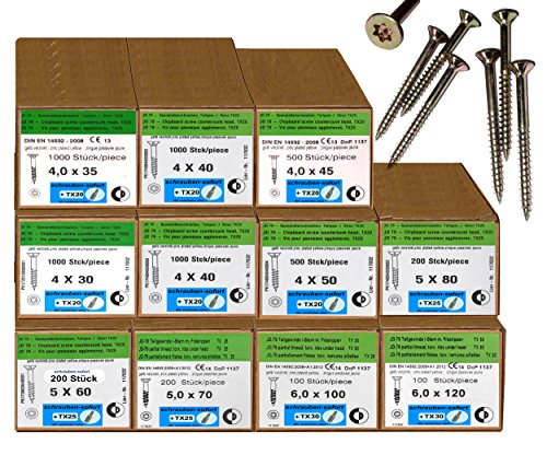 5800 Stck Spanplattenschrauben 4x30-6x120 Torx Antrieb verzinkt + 11 TX Bits