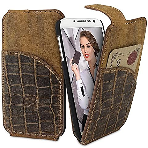 Galaxy S4 Hülle BOULETTA Echt Leder Tasche Flip Case für