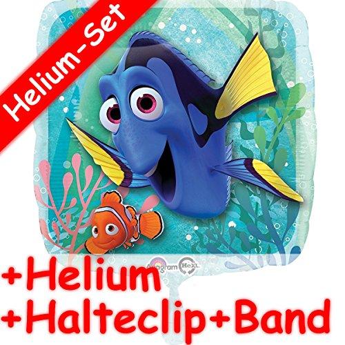 (Folienballon Set * FINDET DORIE + HELIUM FÜLLUNG + HALTE CLIP + BAND * für Kindergeburtstag oder Motto-Party // Folien Ballon Helium Deko Ballongas Motto Nemo Film Clownfisch Doktorfisch DIsney)