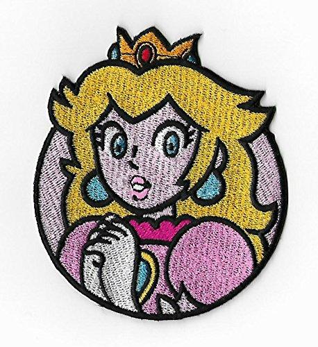 Auf Peach Eisen (Prinzessin Peach Patch (7,6cm) Super Mario Brothers bestickt Eisen/Nähen auf Badge DIY Stickerei Kostüm Aufnäher von Karma Patch)