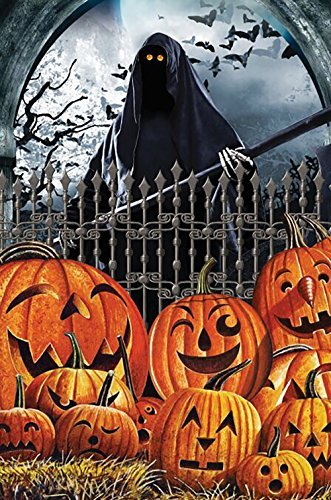 Oremovqweenry Gartenflagge Happy Halloween Grim Reaper Laterne Kürbis Hausflagge 31,8 x 45,7 cm
