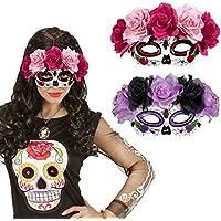 Masque pour les yeux Sugar Skull Loup avec roses La Catrina cagoule d'Halloween jour des morts masque de mort mexicain masque tête de mort jour des morts déguisement de visage tête de mort