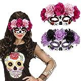 Masque pour les yeux Sugar Skull Loup avec roses La Catrina rose et rouge cagoule d'Halloween jour des morts masque de mort mexicain masque tête de mort jour des morts déguisement de visage tête de mort