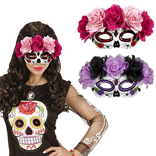 l La Catrina Maske mit Rosen pink-rot Dia de los Muertos Halloweenmaske Mexikanische Todesmaske Totenkopfmaske Tag der Toten Totenmaske Gesichtsmaske (Sugar Skull Maske)