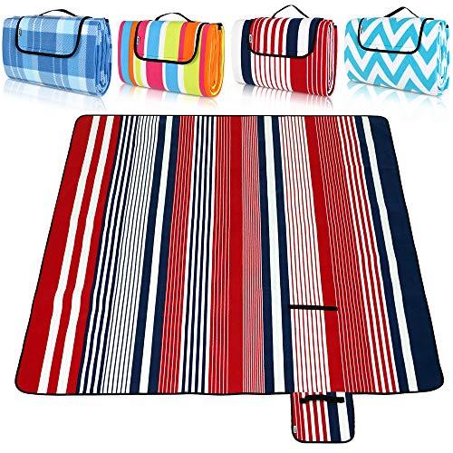 Detex Picknickdecke XXL 200 x 200 cm 3lagig Alu- Schaumstoff- Fleeceschicht wasserdicht wärmeisoliert Tragbar Faltbar
