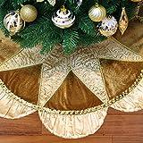 Valery Madelyn 90cm Christbaumständer Weihnachtsbaumdecke aus Satin in Champagner Gold, Christbaumdecke mit Faltenwurf und Pailleten,Themen mit Deko (nicht inkl.)