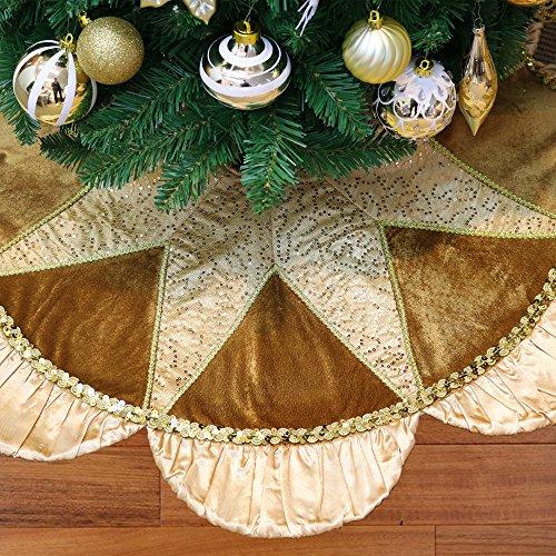 Valery Madelyn 90cm Christbaumständer Weihnachtsbaumdecke aus Satin in Champagner Gold,...