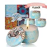 ESOLOM Duftkerzen, Citronella Kerzen 4 Stück Mückenschutzkerzen Zitronengraskerzen, Geschenkset für drinnen und draußen Geburtstagsbad Yoga Valentinstag (blau)