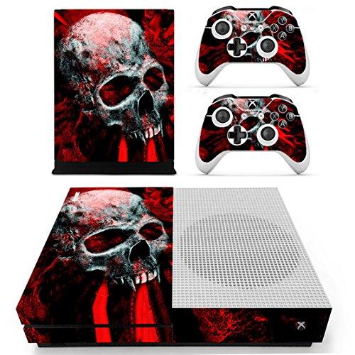DOTBUY Dottbuy Vinyl-Aufkleber für Xbox One S Konsole & Wireless Controller Skull Red
