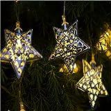 KEEDA LED Solar Lichterkette Beleuchtung Warmweiß, 3 Meter, Star,Solarbetriebene Lichterkette mit 10 Marokkanischen LEDs, Solarleuchten für Außen/Außenbeleuchtung, Weihnachtsbeleuchtung, Dekorative Lichter, Weihnachten Dekoration (Star)