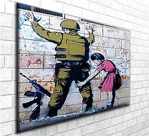 """Interpellation et de fouille """"Banksy Graffiti Reproduction transférée sur toile d'art magnifique Reproduction toile Wall Art - Encadrement prêt à accrocher dans votre intérieur (30"""" x 20 """")"""