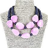 Mode Schmuck Lila Perlen Kette Kurz Erklärung Klobig Halskette für Frauen
