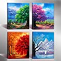 Nuolan Art - Honest Canvas Print, 4 Panels Wall Art , 4 Seansons High Quality Oil Painting Prints for Home Decoration - UK-P4L3040X4-03