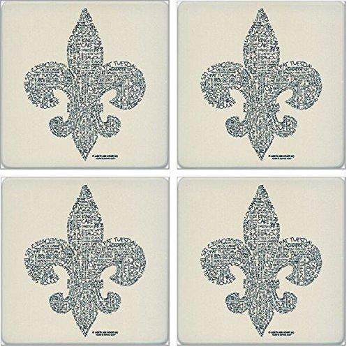 CoasterStone saugfähig Untersetzer, relevanten Worte Fleur de Lis (Set von 4), 4–1/10,2cm - De Set Lis Coaster Fleur