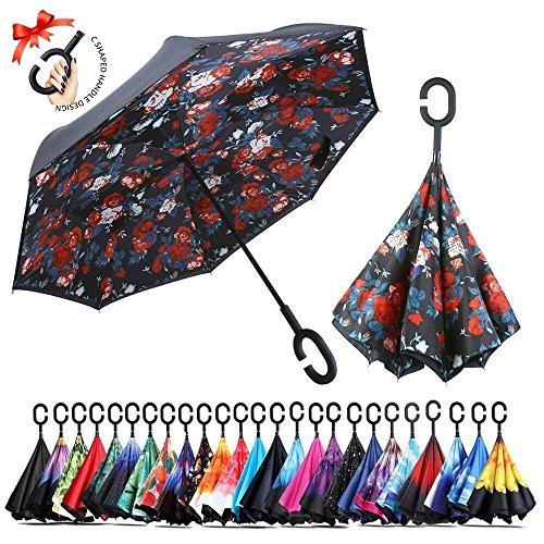Creative Feather Double Layer Inverted Umbrella for Women//Men//Kids UV Protection Waterproof Windproof Travel Car Rain Outdoor C-Shaped Handle
