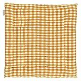 Linum Steppkissen Sitzkissen gesteppt Stuhlkissen Osby Karo orange weiss D06 kariert Karomuster 100% Baumwolle Design by Petra Carlsten eygun ca, 40*40*3 cm groß