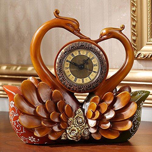 KHSKX Europäischen Retro-Uhr Bestnote Harz Swan Uhr nach Hause Salon Ornamente (Kostüm Betrieben Fan)