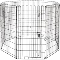 AmazonBasics Foldable Metal Pet Dog Exercise Fence Pen With Gate - 60 x 60 x 48 Inches