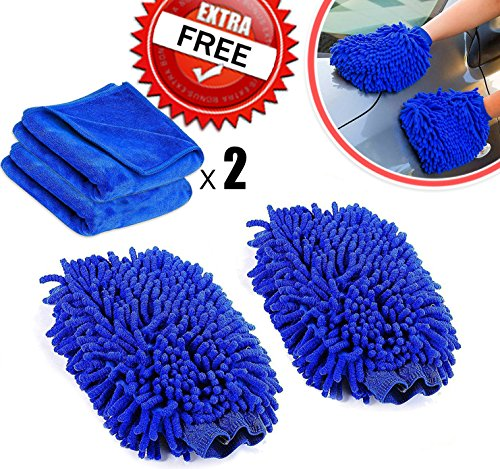 Amison - coppia di guanti per lavaggio auto, in microfibra super morbida, include 2 panni per pulizia auto e casa
