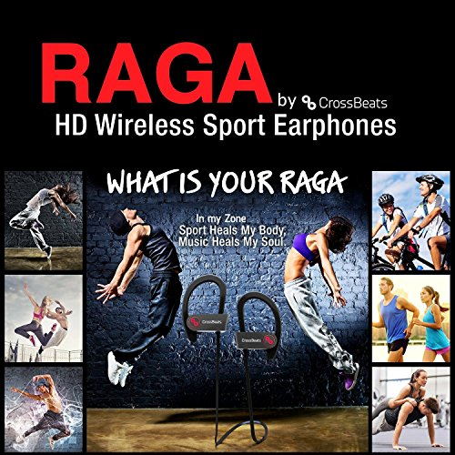 CrossBeatsTM Raga Wireless Bluetooth Headset Headphones -IPX4 Sweatproof -Premium Sound with Bass, Noise Cancelling, Secure Fit Bluetooth V4.1, 8 Hrs Playtime | Built-in-Mic | Strong Bass| Ergonomic-Designed Ear Hooks | Soft Silicone Surface