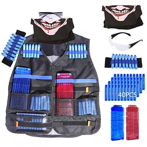 FOKOM Kinder Spielzeug Set für Nerf: 1er Weste + 1er Kostüm Maske + 1er Wriste Trageschlaufe + 1er Schutzbrille Gläser Brille + 40er Darts Pfeile + 2er 12-Darts Clip Magazin für Nerf Series (Pfeil Verschiedene Kostüme)