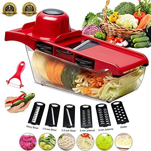 YECO Mandoline Slicer Gemüsehobel,Mandoline Gemüseschneider 6 Klingen Gemüsereibe Abnehmbar, Profi-Gemüsehobel für Gemüse und Obst aus Edelstahl und ABS Kunststoff. (Rot)