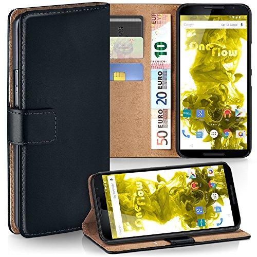 moex Nexus 6   Hülle Schwarz mit Karten-Fach 360° Book Klapp-Hülle Handytasche Kunst-Leder Handyhülle für Motorola Google Nexus 6 Case Flip Cover Schutzhülle Tasche