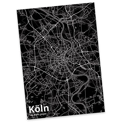 Mr. & Mrs. Panda Postkarte Stadt Köln Stadt Black - Stadt Dorf Karte Landkarte Map Stadtplan Karte, Sprüche, Fan, Fanartikel, Souvenir, Andenken, Fanclub, Stadt, Mitbringsel