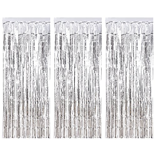 3 Pack Metallic Tinsel Curtains, Foil Fringe Shimmer Curtain Door Window  Decoration For Birthday Wedding Party (Silver)