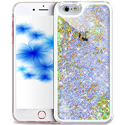 EMAXELERS iPhone 7 Hülle Gold,iPhone 7 Case Transparent Clear Glitzer Liquid Crystal Hülle,iPhone 7 Hard Hülle,iPhone 7 Hülle Rosa,iPhone 7 Hülle Bling 3D Kreative Liquid Case Etui für iPhone 7 4.7 Zo Hearts Liquid 2