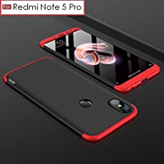 Wow Imagine 3 In 1 Double Dip Case All Angle Protection Matte Hard Back Case Cover For Xiaomi Mi Redmi Note 5 Pro - Black With Red