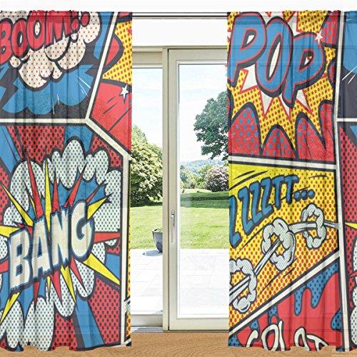 (MyDaily Retro Pop Art Comic Bedruckt Sheer Fenster und Tür Vorhang 2Felder 139,7x 213,4cm Rod Pocket Panels für Wohnzimmer Schlafzimmer Decor, Polyester, Multi, 55