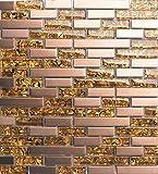 30cm x 30cm Matte Glas und gebürstet Edelstahl Mosaik Wand Fliesen Blatt Gold und Kupfer (MT0169)