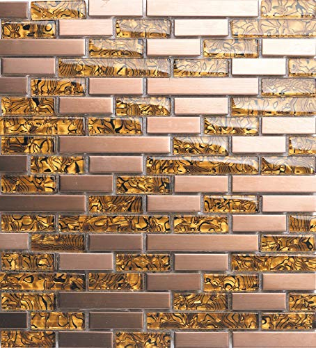 30cm x 30cm Matte Glas und gebürstet Edelstahl Mosaik Wand Fliesen Blatt Gold und Kupfer (MT0169) - Kupfer-mosaik-glas