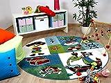 Kinder und Spiel Teppich Maui Kids Pirat Grün Blau Rund in 2 Größen