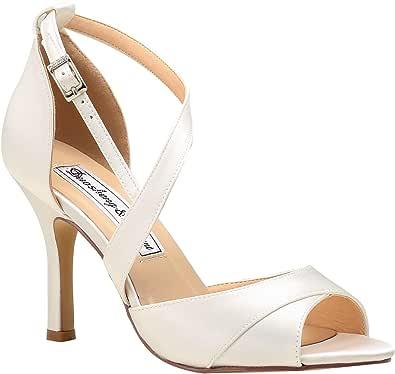 Duosheng & Elegant HP1821 Donna Peep Toe Tacchi a Spillo Sandali Eleganti Fibbia Cinghietti Satin Scarpe da Ballo per la Festa Nuziale