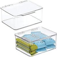 mDesign (lot de 2) boite de rangement pour la cuisine, le garde-manger ou le bureau – organiseur en plastique avec…