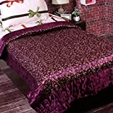 Aapno Rajasthan Purple & Golden Floral Print Single Bed Quilt