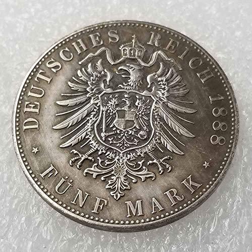 YunBest Antike Deutsche Morgan Silber-Dollars - Preußen 5 Mark-William II 1888 Alte Münze zum Sammeln - Old Original Pre Morgan Dollar - Replik Silbermünze BestShop -