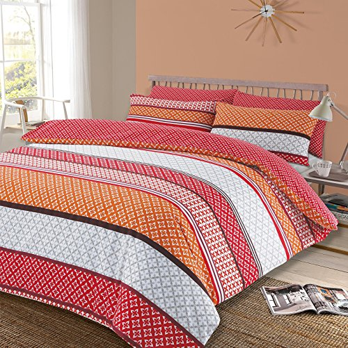 Dreamscene Lola Duvet Cover, with Pillowcase Reversible Bedding Set, Multi-Colour, Double
