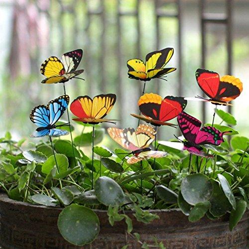 Garden Ornaments 50PCS Schmetterling Einsatz Garten-Bepflanzung Blumentopf im Yard dual-layers Schmetterlinge Dekoration