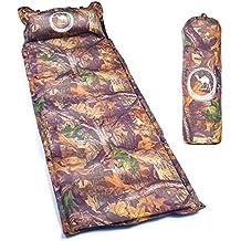 Colchoneta autohinchable para acampada, uso exterior, con almohada hinchable